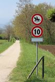 Pedestrian street with no access to horses and speed limit Royalty Free Stock Photos