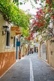 Pedestrian street in the old town of Rethymno in Crete Greece. Pedestrian street in the old town of Rethymno in Crete, Greece Royalty Free Stock Photos