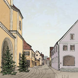 Pedestrian street in old town. Sketch perspective. Stock Images