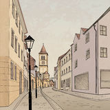 Pedestrian street in old town. Sketch perspective. Stock Image