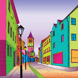 Pedestrian street in old town. Sketch perspective. Funky journey. Predistant street in euoropean city. Colorful panorama city background in 1960s pop art style vector illustration