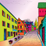 Pedestrian street in old town. Sketch perspective. Royalty Free Stock Photos
