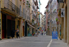 A pedestrian-only street in Pamplona, Spain along the Camino de Santiago Royalty Free Stock Photography