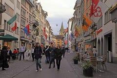 Pedestrian street Rennweg, Zurich, Switzerland. Stock Images