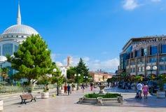 Pedestrian street Rruga Kole Idromeno. Abu Bekr Mosque Xhamia e Madhe, Hotel Colosseo, Shkoder, Albania Stock Photo