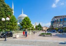 Pedestrian street Rruga Kole Idromeno. Mosque Xhamia e Madhe, Hotel Colosseo, Shkoder, Albania Royalty Free Stock Images