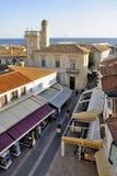 A pedestrian street of Saintes-Maries-de-la-Mer Royalty Free Stock Photos