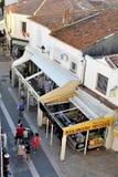 A pedestrian street of Saintes-Maries-de-la-Mer Stock Photo