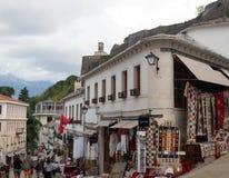 Pedestrian Street with Souvenir Shops in Gjirokaster Albania