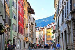 Pedestrian street in Trento, Italy Stock Photos