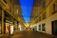 Pedestrian street in Vienna Royalty Free Stock Photography