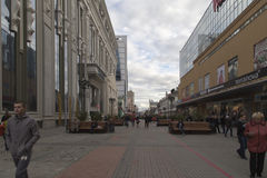 Pedestrian street in  yekaterinburg,russian federation. Pedestrian street is taken in  yekaterinburg,russian federation Royalty Free Stock Photos