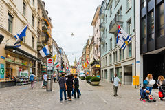 Pedestrian street in Zurich, Switzerland. Zurich is the largest Royalty Free Stock Photography