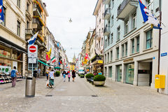 Pedestrian street in Zurich, Switzerland. Zurich is the largest Royalty Free Stock Image