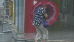 Pedestrian struggles to cross street in typhoon wind and rain stock video footage