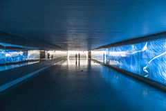Pedestrian subway illuminated with blue light in a german city Stock Photo