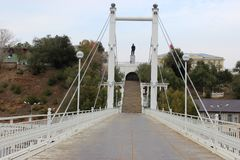 Pedestrian suspension bridge Europe-Asia Stock Images