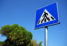 Pedestrian Symbol On Road Sign Royalty Free Stock Images