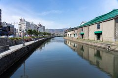 Pedestrian and Tourists at Otaru canal historic Landmark of Hokkaido popular tourist destination at Japan. Pedestrian and Tourists at Otaru canal historic royalty free stock images