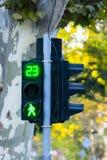 Pedestrian traffic light green. Light digits Stock Photo