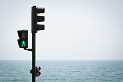 Pedestrian traffic light in green Royalty Free Stock Photos