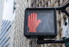 Pedestrian traffic light. In New York Royalty Free Stock Image
