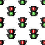 Pedestrian Traffic Light Seamless Pattern vector illustration