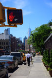 Pedestrian Traffic Light Stoplight in Downtown New York Signaling No Crossing. Of Street with Blurred Background and SKy royalty free stock photography