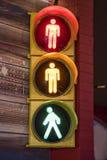 Pedestrian traffic light. A pedestrian traffic light on a wall Royalty Free Stock Photography
