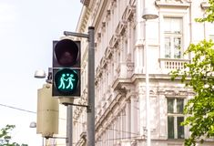 Pedestrian Traffic lights, figures holding hands with heart symbol stock images