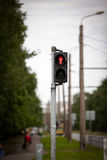 Pedestrian traffic lights with red stop signal.  Royalty Free Stock Photo