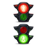 Pedestrian Traffic Lights Set. Realistic stop and go pedestrian traffic lights set isolated vector illustration Stock Images