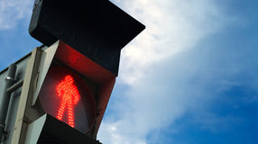 Pedestrian traffic lights shows red signal. Pedestrian traffic lights shows red restrictive signal. Closeup view Stock Images