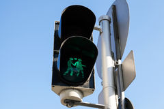 Pedestrian traffic lights in Vienna, Austria. Pedestrian traffic lights with original green lovers signal, Vienna, Austria Royalty Free Stock Photo