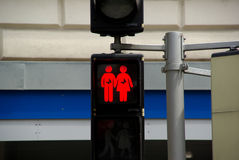 Pedestrian traffic lights in Vienna. The city of Vienna has various pedestrian traffic lights showing a man and a woman, two man and two woman. This was intended Stock Images