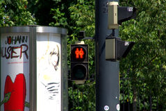 Pedestrian traffic lights in Vienna. The city of Vienna has various pedestrian traffic lights showing a man and a woman, two man and two woman. This was intended Royalty Free Stock Photos