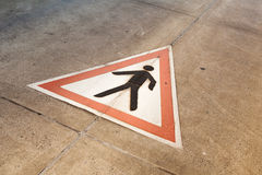 Pedestrian traffic sign on the road Stock Photos
