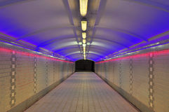 Pedestrian Tunnel Lighted Up Stock Images