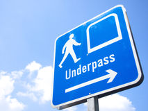 Pedestrian underpass in Singapore. Sky blue Stock Images