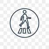 Pedestrian vector icon isolated on transparent background, linea royalty free illustration