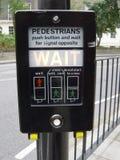 Pedestrian Wait Sign Stock Images