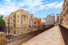 Pedestrian walking lane, street view of Tarragona, Spain Stock Photo