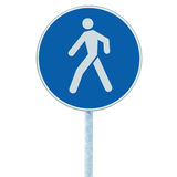 Pedestrian walking lane walkway footpath road sign on pole post, large blue round isolated route traffic roadside signage closeup. Pedestrian walking lane Stock Photo