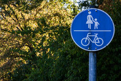 Pedestrian Walking Zone Sign Mother Bicycle Blue Traffic European Royalty Free Stock Image