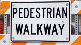 Pedestrian Walkway. Construction sign Stock Image