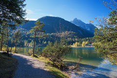 Pedestrian Walkway Along The Lake Shore Lautersee Near Mittenwal Stock Images