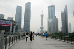 Pedestrian walkway in Lujiazui Shanghai Royalty Free Stock Photo