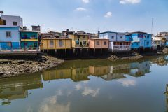 Estero Salado in the city of Guayaquil. Pedestrian walkway and park on the banks of Estero Salado in the city of Guayaquil Stock Photography