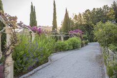 A pedestrian walkway paved  along ornamental bushes and trees an. A pedestrian walkway paved with sidewalk tiles along ornamental bushes and trees and an arch Stock Images