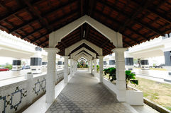 Pedestrian Walkway at Sultan Abu Bakar State Mosque in Johor Bharu, Malaysia Royalty Free Stock Photo